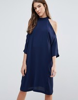 Liquorish Cold Shoulder Oversized Midi Dress
