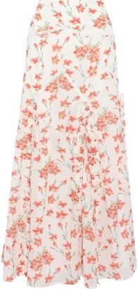Love Sam Ruffle-trimmed Floral-print Cotton-blend Maxi Skirt