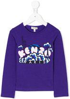 Kenzo logo cloud print top - kids - Cotton/Spandex/Elastane - 2 yrs
