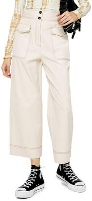 Topshop Twill Utility Crop Wide-Leg Trousers