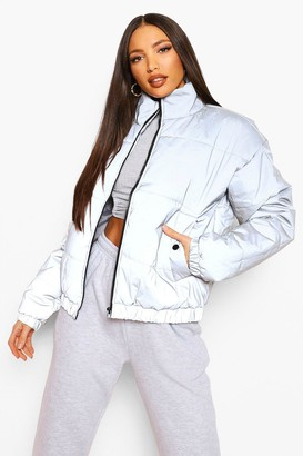 boohoo Tall Reflective Cropped Padded Coat