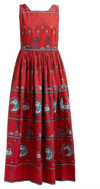 Le Sirenuse Le Sirenuse, Positano - Julia Diefenbach Print Cotton Maxi Dress - Womens - Red Print