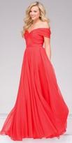 Jovani A-Line Silk Chiffon Off the Shoulder Prom Dress