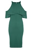Quiz Green Crepe Cold Shoulder Midi Dress