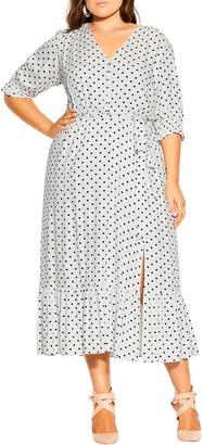 City Chic Polka Dot Flounce Dress