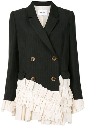 Enfold Ruffle-Trimmed Double Breasted Blazer