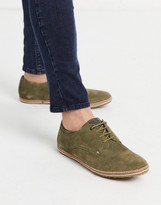 Base London mavern lace up shoes in khaki suede