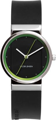 Jacob Jensen Womens Analogue Classic Quartz Watch with Rubber Strap JJ767