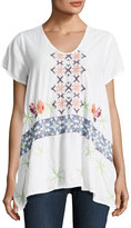 Johnny Was Wilson Embroidered-Front Tunic, Multi Pattern