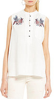 William Rast Anaya Embroidered Button Front Tank Top