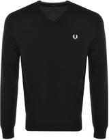 Fred Perry V Neck Knit Jumper Black