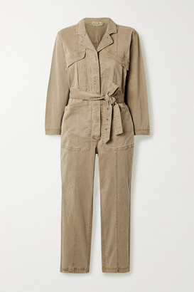 Alex Mill Expedition Cropped Belted Stretch Tencel And Cotton-blend Twill Jumpsuit - Sand