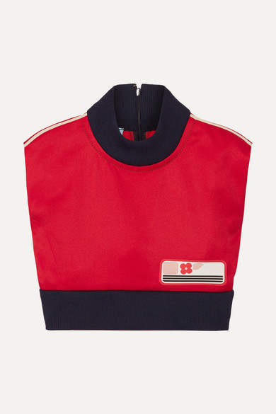 Prada Cropped Ribbed Knit-trimmed Shell Tank - Red