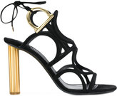 Salvatore Ferragamo Gancio flower heel sandals