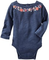 Osh Kosh Embroidered Knit Bodysuit (Baby) - Indigo Blue-24 Months
