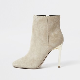 River Island Womens Beige suede skinny heel ankle boots