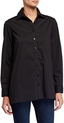 Finley Kara Button-Down Trapeze Top w/ Flounce Back Detail