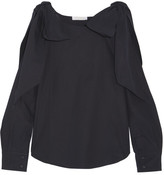 Chloé Cutout Bow-detailed Cotton-poplin Top - Navy