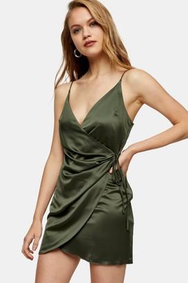 Topshop Womens Olive Satin Wrap Slip Dress - Olive