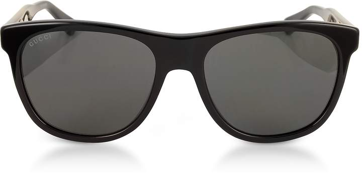 Gucci GG0266S Squared-frame Black Sunglasses w/Polarized Lenses