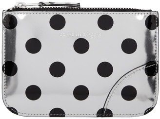 Comme des Garçons Wallets Silver and Black Polka Dot Small Zip Pouch