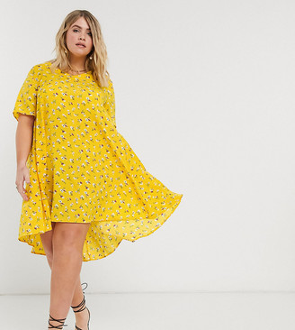 AX Paris Plus v neck swing dress in yellow floral