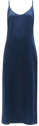 La Perla Scoop-back Silk-satin Midi Nightdress - Navy