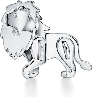 Tiffany & Co. Save the Wild lion brooch in sterling silver with diamonds
