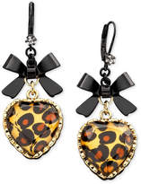 Betsey Johnson Leopard Heart Bow Drop Earrings