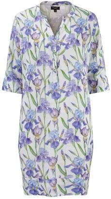 Nologo Chic Iris Flower Linen Tunic Dress