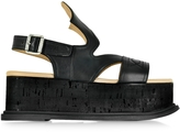 MM6 Maison Martin Margiela Black Leather Wedge Sandal