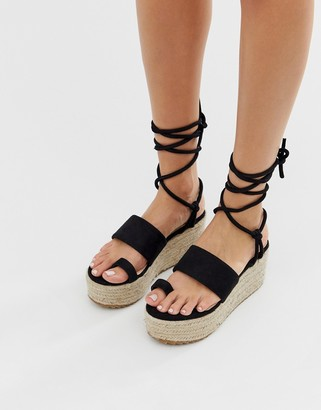 Public Desire Calypso black flatform toe loop espadrilles
