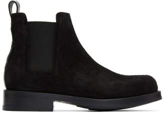 Feit Black Suede Rubber Chelsea Boots
