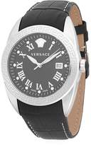 Versace Men's Logo Stainless Steel and Embossed Leather-Strap Watch