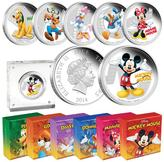 Coin Collector Mickey & Friends 99.9% Silver Limited Edition Set of 6 Colorized Coins from the New Zealand Mint