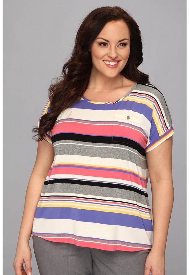 Vince Camuto TWO by Plus Size Happy Stripe Pocket Tee (Granita Pink) - Apparel