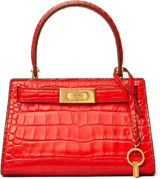 Tory Burch Lee Radziwill Croc Embossed Leather Tote