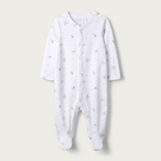 The White Company Elephant Sleepsuit, White, 12-18mths