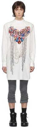 Comme des Garcons White A-Pattern Pearl Bead Embroidery Shirt