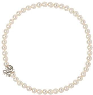 Miu Miu Crystal Bow Pearl Necklace