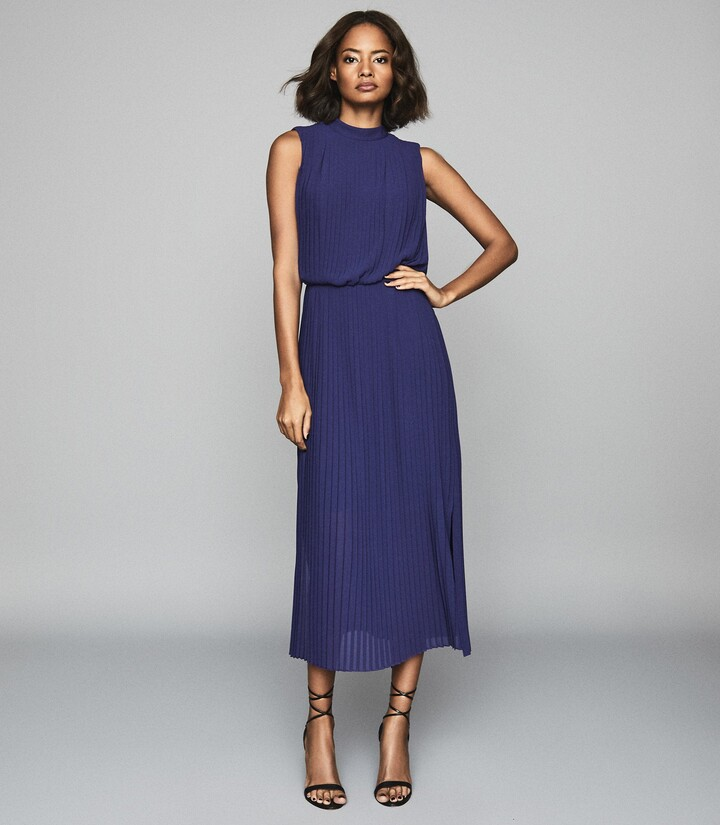Reiss Ray - Pleated Midi Dress in Ink