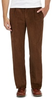 Maine New England Big And Tall Dark Tan Pleat Front Corduroy Trousers