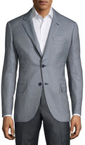 Brioni Textured Two-Button Jacket, Sky Blue/Black