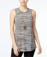Amy Byer Juniors' Space-Dyed Tank Top with Necklace