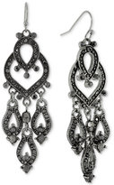 2028 Hematite-Tone Jet Crystal Chandelier Earrings