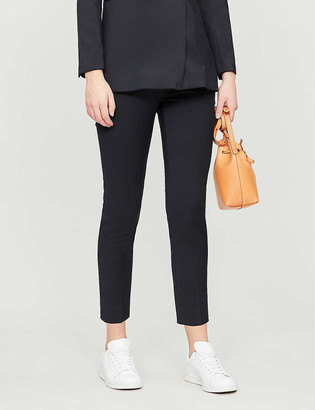 Sandro Velvet-trim stretch-woven trousers