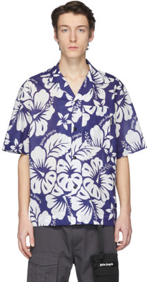 Palm Angels Blue and White Hawaiian Bowling Shirt