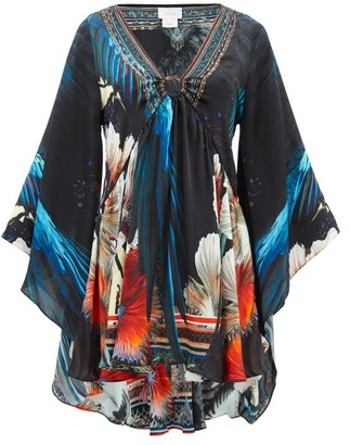 Camilla Night Flight Bell-sleeve Silk-satin Dress - Black Print