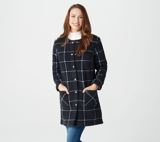Denim & Co. Printed Fleece Bonded with Sherpa Snap Front Coat