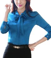 MFrannie Women Tie Bow Neck Long Sleeve Casual Office Lady Work Blouse Tops